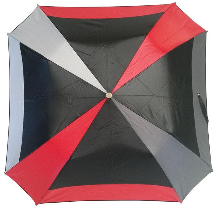 parapluie pliant carré noir et rouge