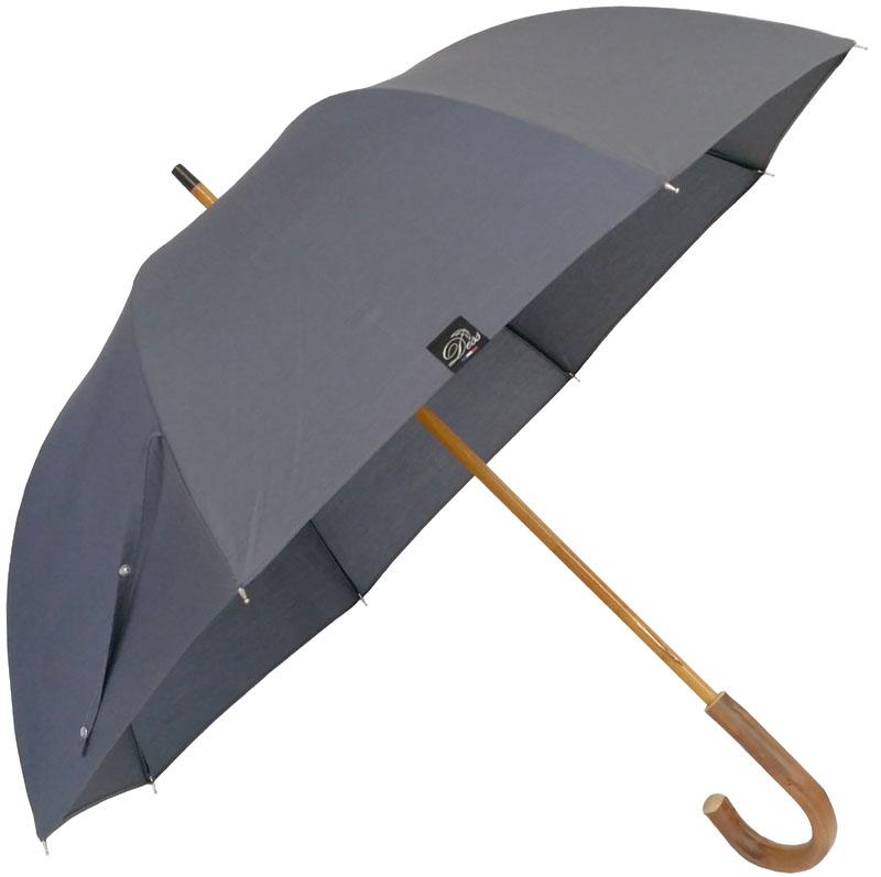 Parapluie grande taille anthracite, poignée châtaignier