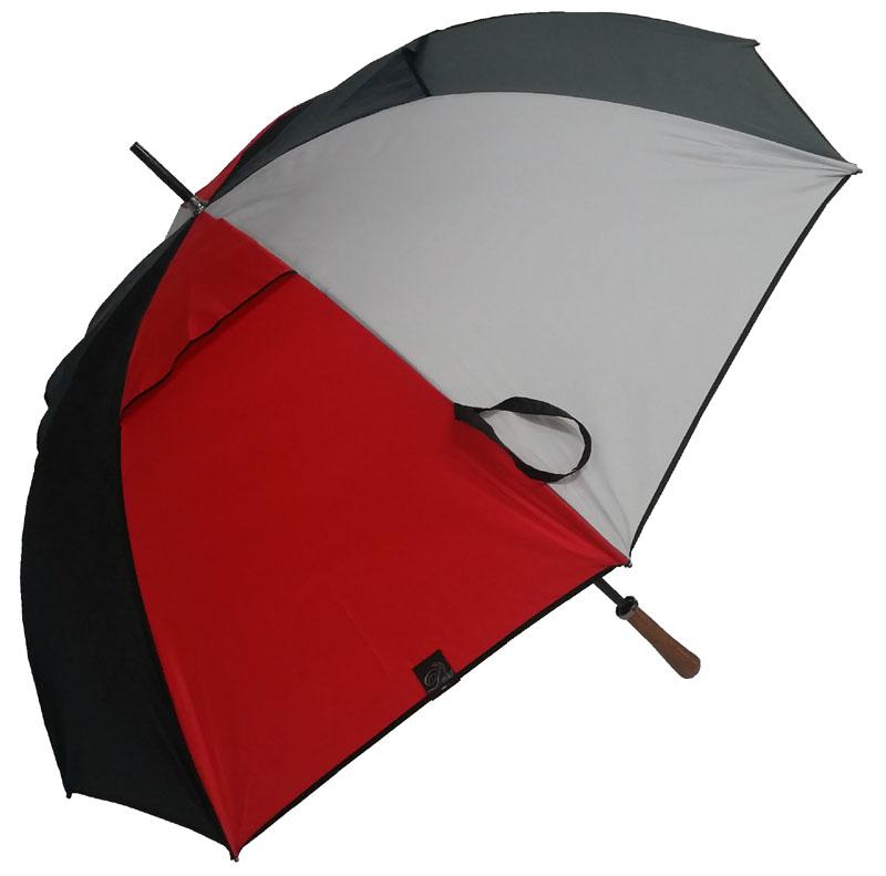 Parapluie-golf anti-vent gris/rouge