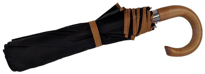 Parapluie pliant homme noir bordé camel