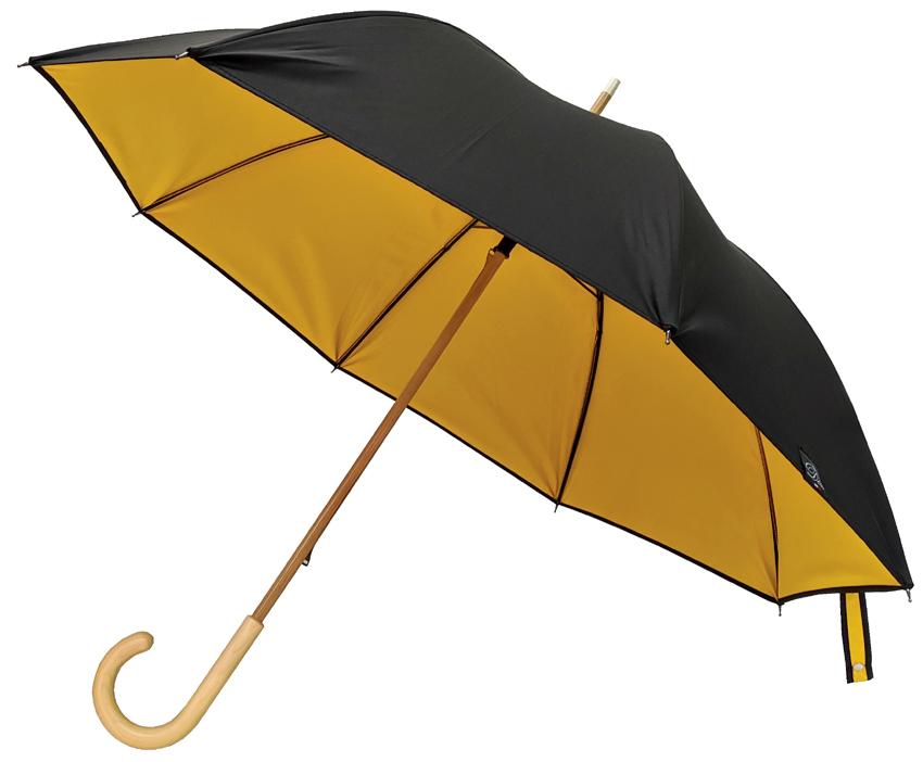 Parapluie doublé noir intérieur jaune bouton d\'or