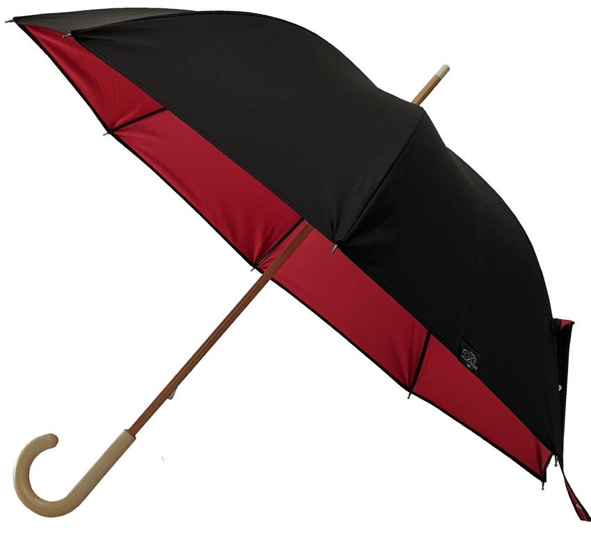 Parapluie noir doublé rouge