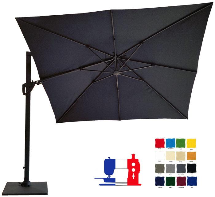 Parasol excentré carré 3x3 orientable à votre couleur et avec sa housse Dess + pied 90kg roulettes.