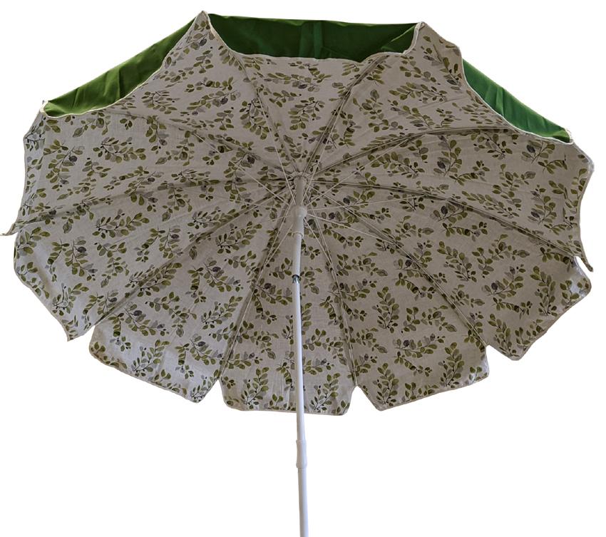 Parasol rond Ø240cm doublé vert olive