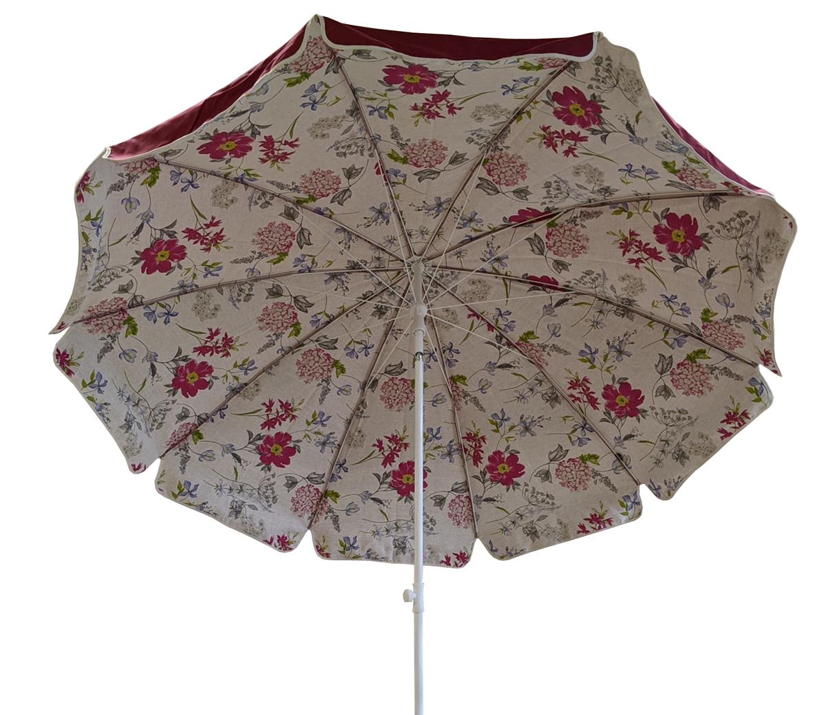 Parasol rond Ø240cm doublé bordeaux