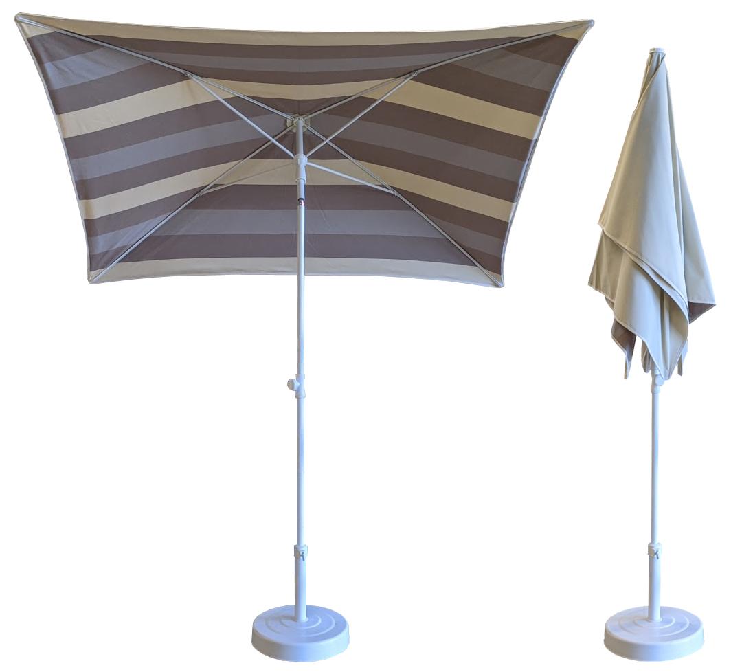 Parasol rectangulaire 200x150 doublé rayure ivoire