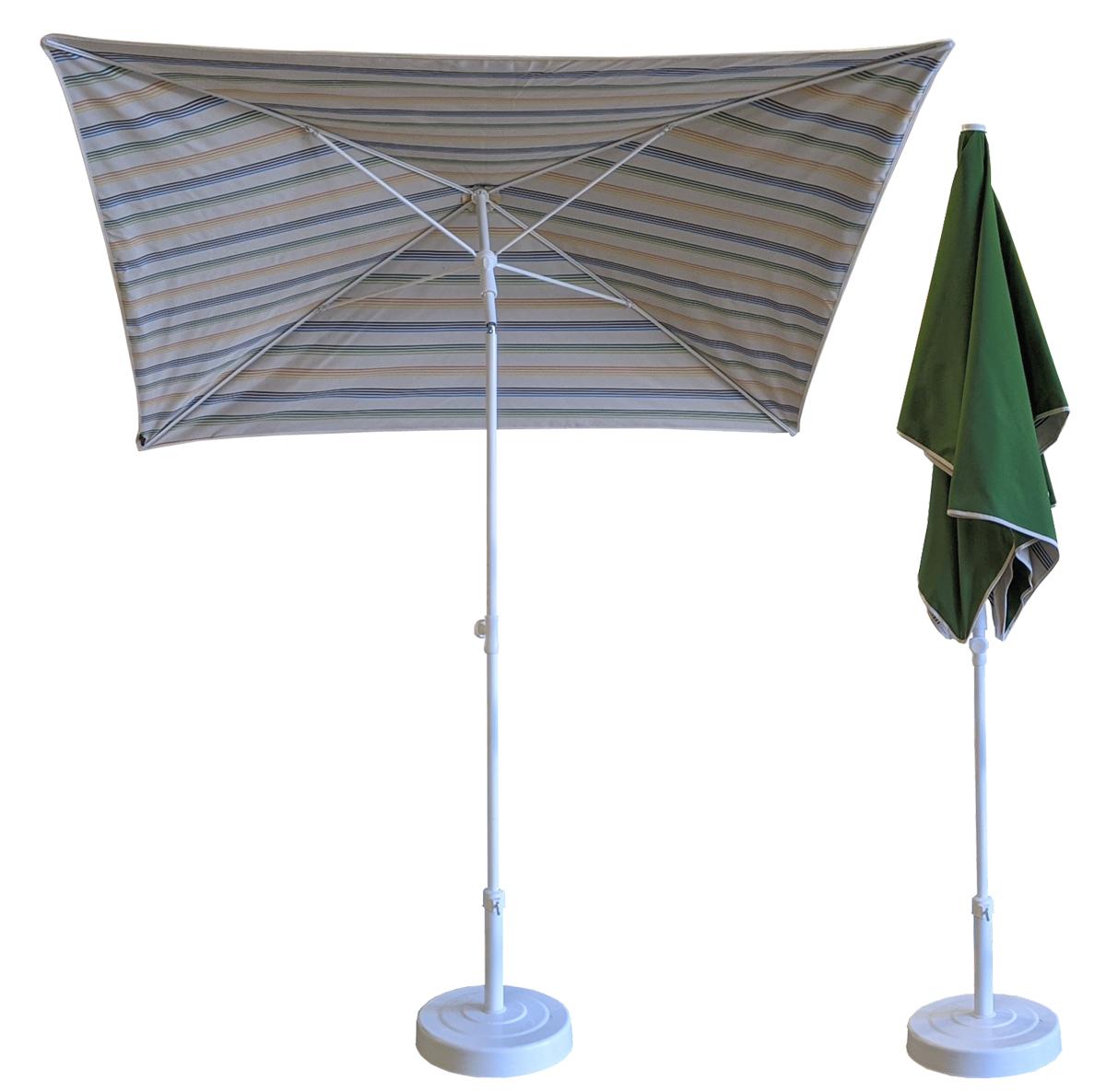 Parasol rectangulaire 200x150 doublé rayure olive