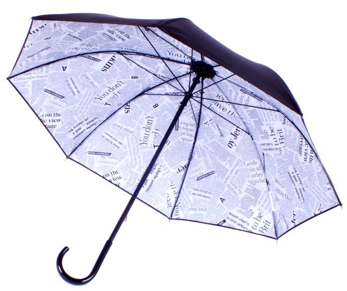 parapluie noir doublé journal
