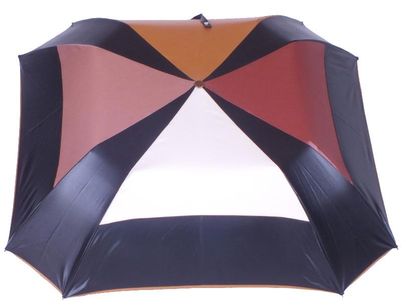 parapluie pliant acier carré noir et chocolat