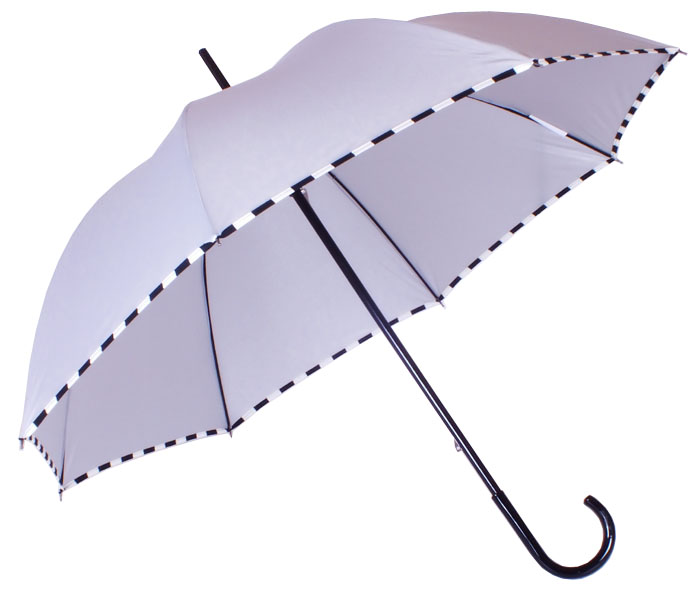 Parapluie droit damier gris perle