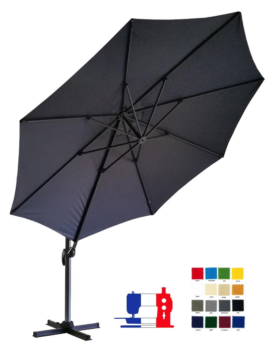 Parasol excentré  à mat déporté rond 350cm à votre couleur avec sa housse Dess. Délai 7 jours ouvrés !