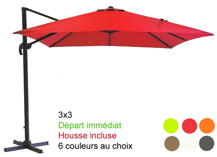 Parasol excentr mat d port 3x3 avec sa housse d part imm diat paraso - Parasol excentre rectangulaire ...