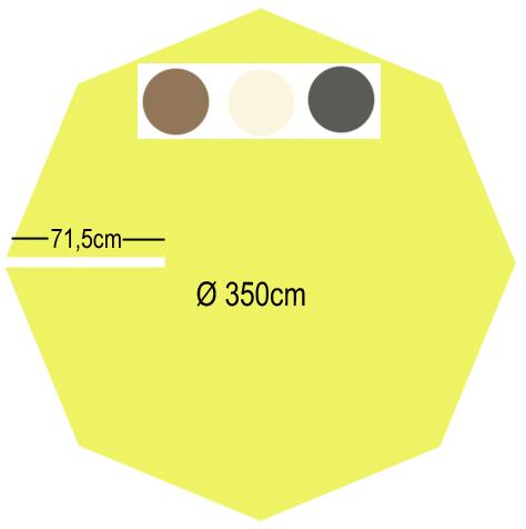 Toile de remplacement polyester parasol excentré Ø350