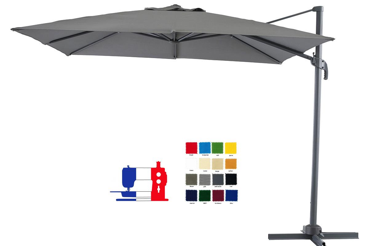 Parasol excentré rectangulaire 4x3 à votre couleur et avec sa housse Dess. Délai 7 jours ouvrés !