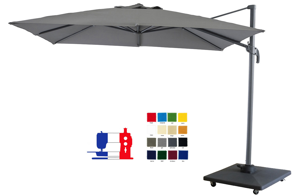 parasol excentr carr 4x3 votre couleur et avec sa housse pied 90kg roulette disponible a. Black Bedroom Furniture Sets. Home Design Ideas