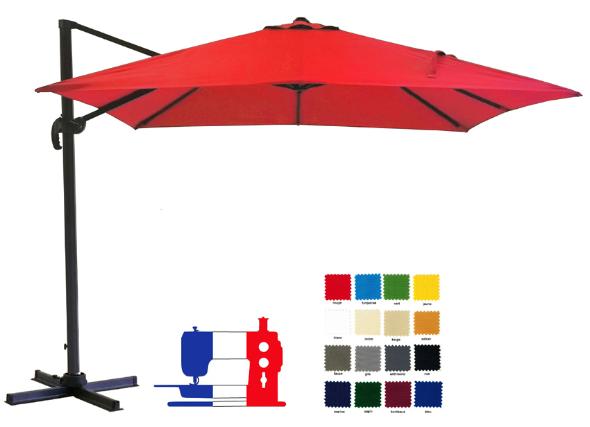 Parasol excentré carré 2.5x2.5 à votre couleur avec sa housse Dess. Délai 7 jours ouvrés !