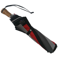 Parapluie pliant automatique gris-rouge