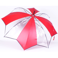 parapluie transparent tulipe rouge