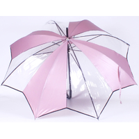 parapluie transparent tulipe rose
