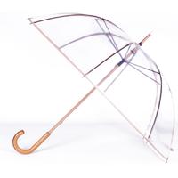 Parapluie cloche transparent gansé beige