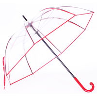 Parapluie cloche transparent rouge