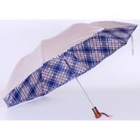 Parapluie pliant automatique beige doublé écossais