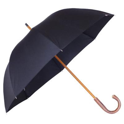 Parapluie grande taille noir, poignée châtaignier
