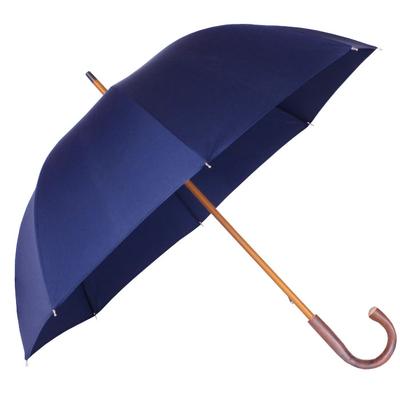 Parapluie grande taille bleu marine, poignée châtaignier