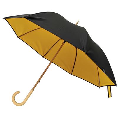 Parapluie doublé noir intérieur jaune bouton d'or