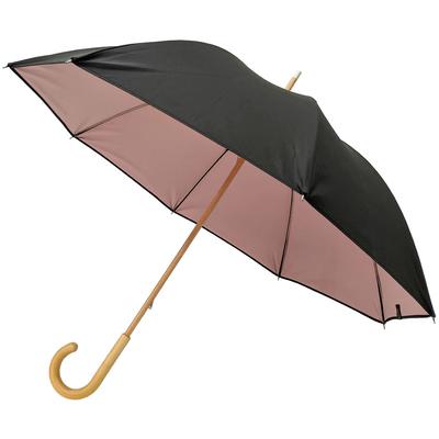 Parapluie noir doublé vieux rose