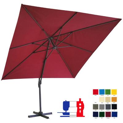 Parasol excentré carré 3x3 à votre couleur et avec sa housse Dess. Délai 7 jours ouvrés !