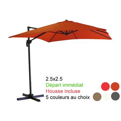 parasol excentré 2.5x2.5 avec sa housse. Départ immédiat !