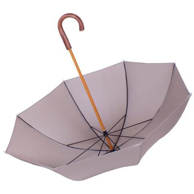 Parapluie grande taille beige, poignée châtaignier