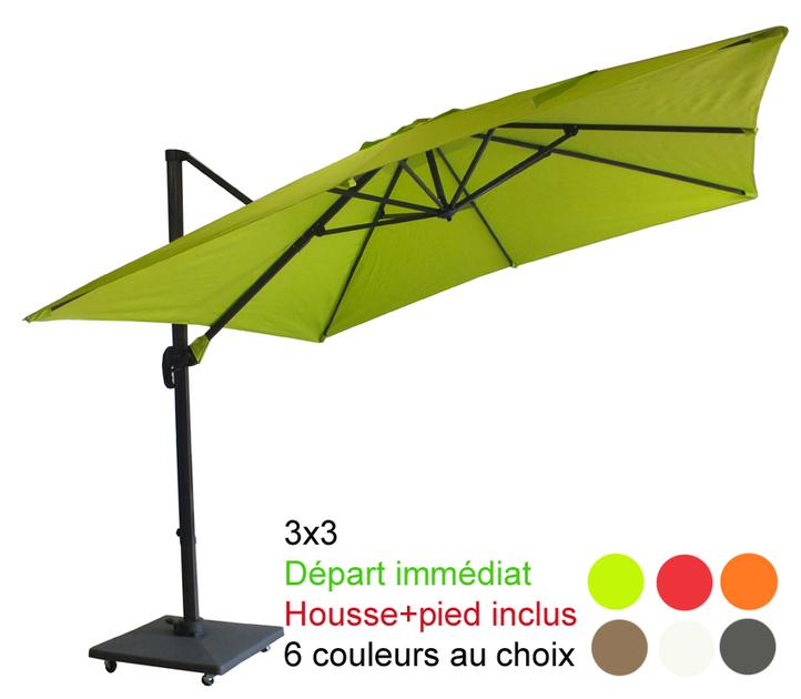 parasol excentr mat d port 3x3 avec sa housse et pied. Black Bedroom Furniture Sets. Home Design Ideas