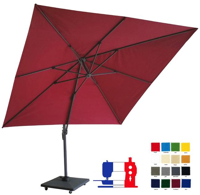 parasol excentr carr 3x3 votre couleur avec sa housse et son pied roulette de 70kg d lai. Black Bedroom Furniture Sets. Home Design Ideas
