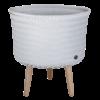 up mid cache-pot moyen sur pied en bois couleur flint grey grisbleu clair handed by commerce équitable