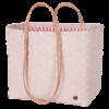 GO! shopper sac de plage courses sport refermable couleur rose pâle et tissu rayures blanc corail avec anse handed by