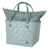 COLOR DELUXE shopper cabas de courses sport plage refermable à zip couleur grisvert tressé main par handed by