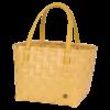 CM shopper panier de courses plage jaune moutarde avec anses jaune assorti tressé main par handed by
