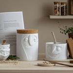 boîte de conservation visage jovial tassen porcelaine couvercle liège