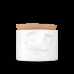 boîte de conservation visage jovial porcelaine couvercle liège tassen