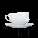 tasse à thé visage bisous avec anse et sous tasse de coté