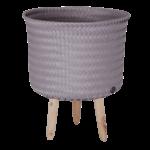 UP mid cache-pot couleur mauve tressé à la main avec pieds en bois handed by