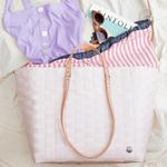 GO! shopper rose pale avec anses brun pour maillot de bain, lunettes de soleil, livre et serviette pour la plage