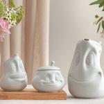 sucrier cremier cafetière visage humeur en porcelaine de tassen58