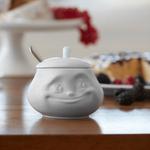 sucrier visage humeur doux avec couvercle en porcelaine de Tassen sur table à manger gouter
