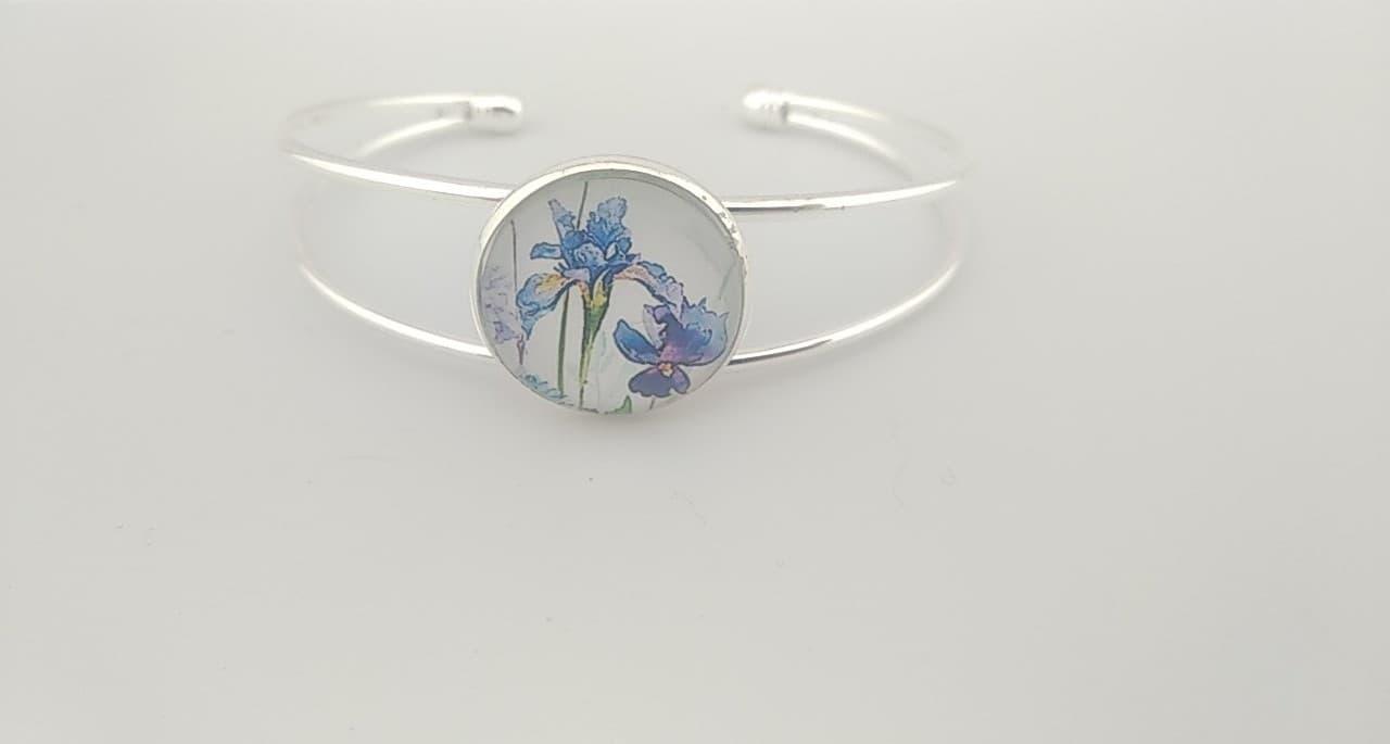 Bracelet cabochon fleurs