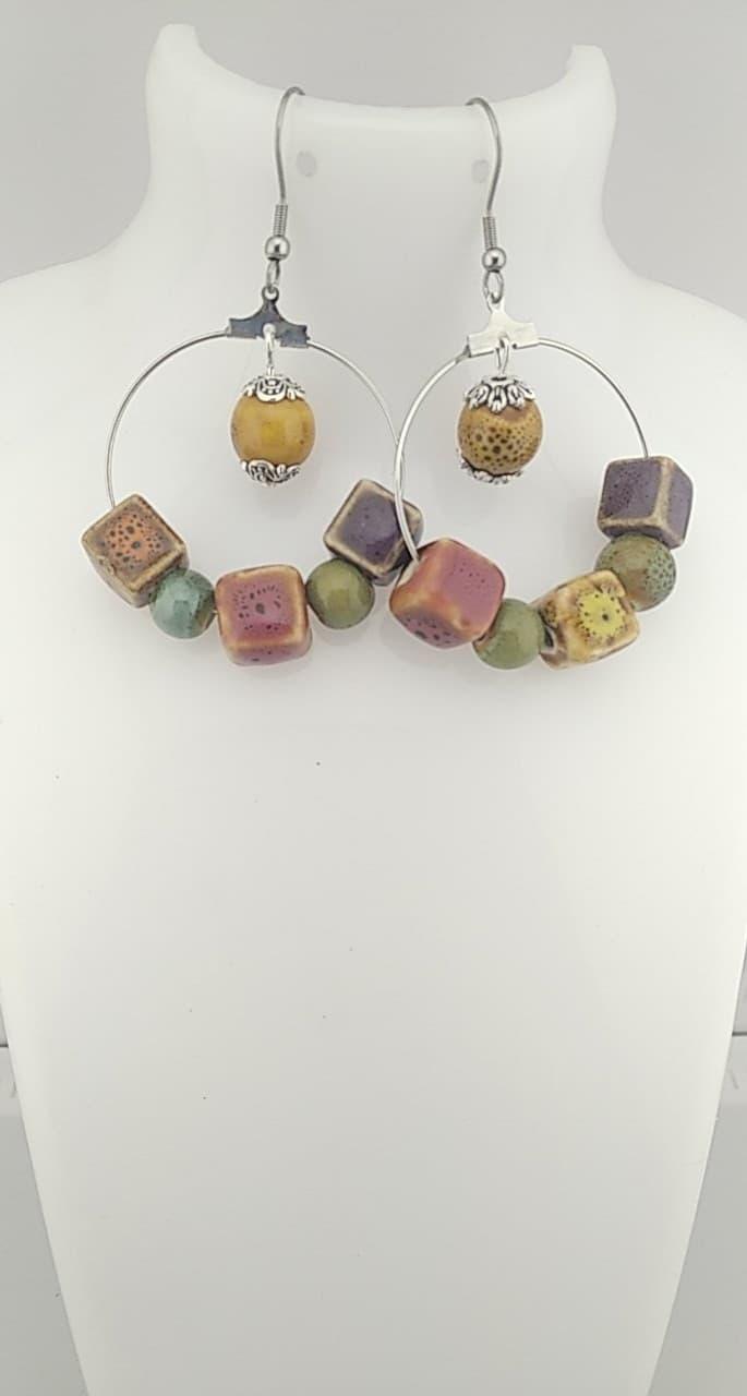 Créoles en perles céramique