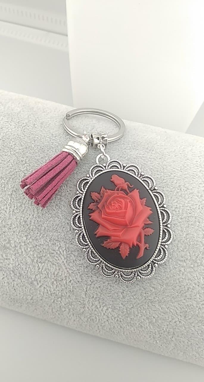 Porte clefs rose rouge