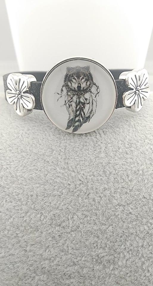Bracelet en cuir Loup